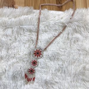 Beaded Red and white aztec necklace